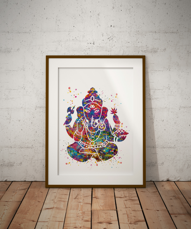 Ganesha Watercolour Print Wall Art