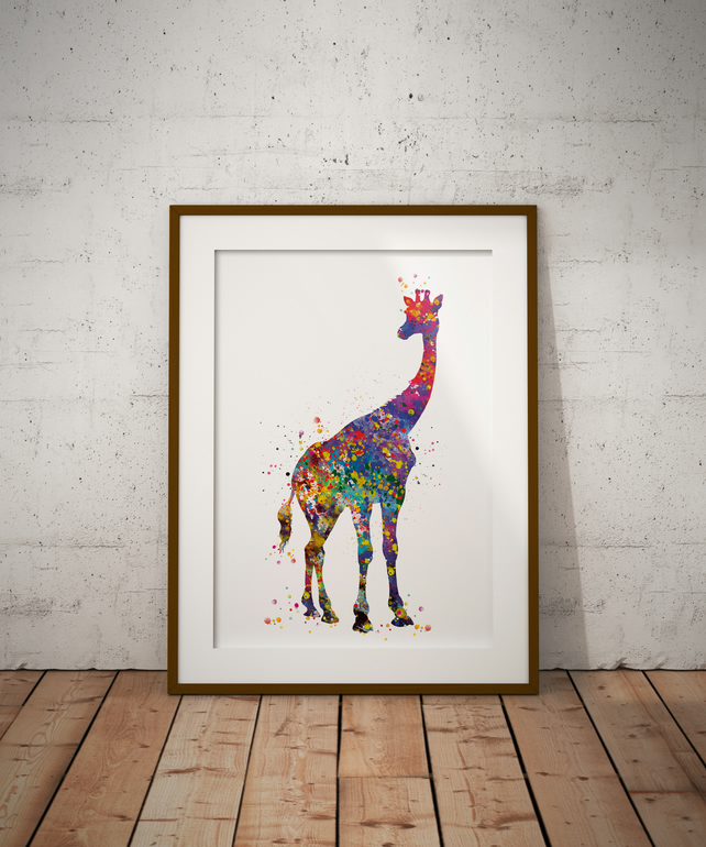 Giraffe Watercolour Print Wall Art