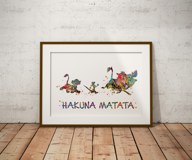 Hakuna Matata Watercolour Print Wall Art