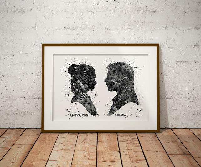 Han Solo Leia Black And White Watercolour Print Wall Art