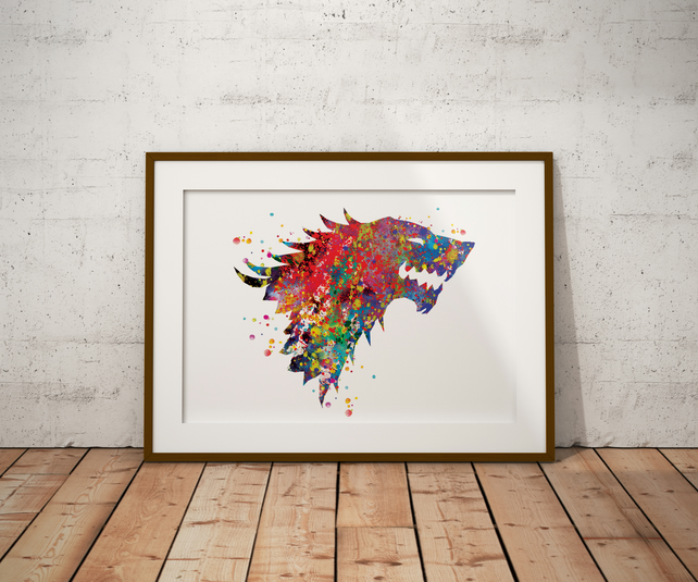 House Crest Watercolour Print Wall Art