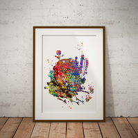 Howl's Moving Castle Watercolour Print Wall Art