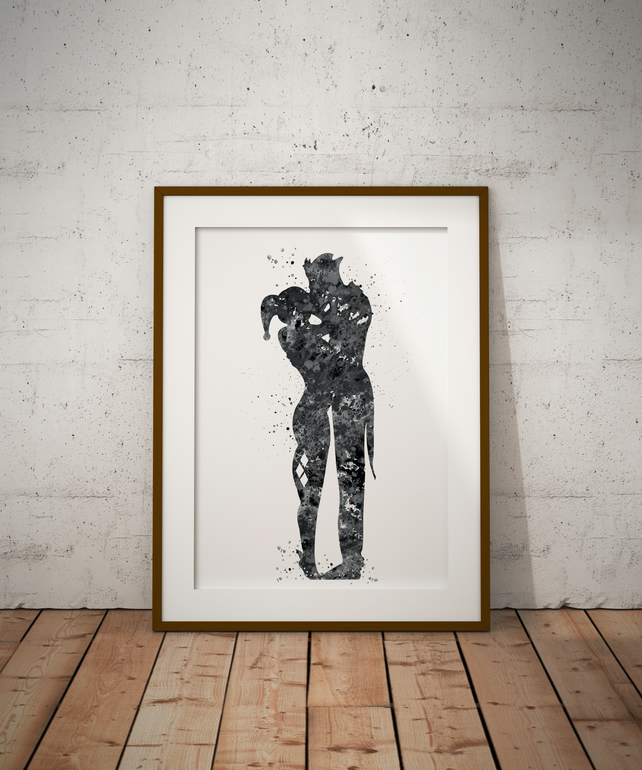 Joker And Harley Quinn Black And White Watercolour Print Wall Art
