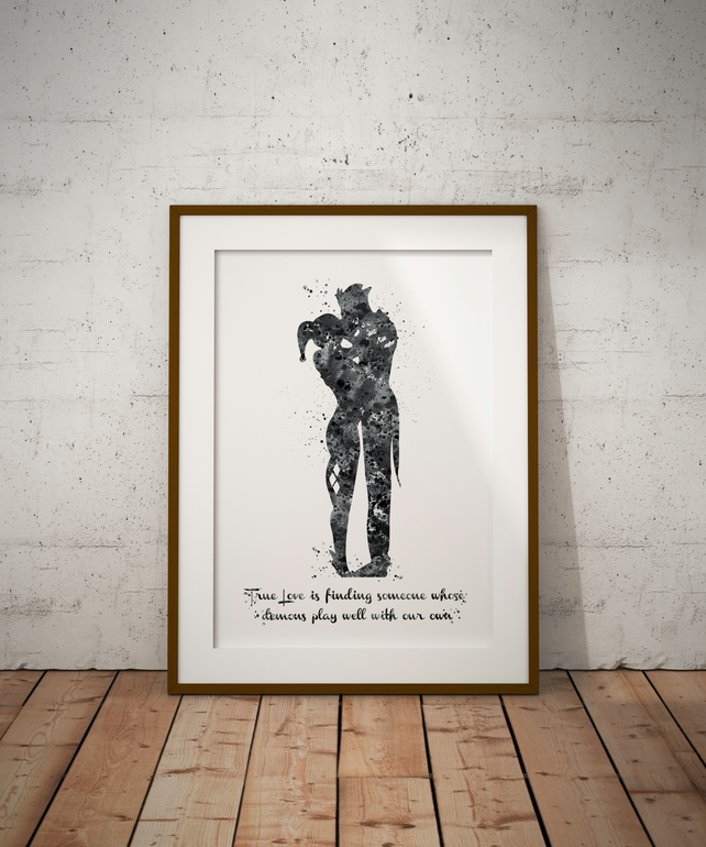 Joker And Harley Quinn Black And White Quote Watercolour Print Wall Art