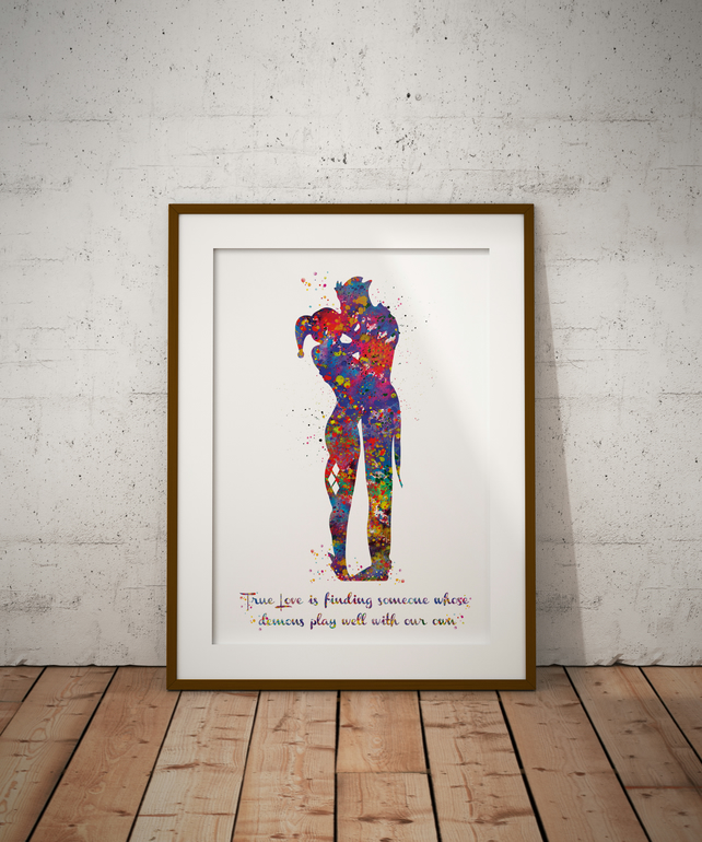 Joker And Harley Quinn Quote Watercolour Print Wall Art