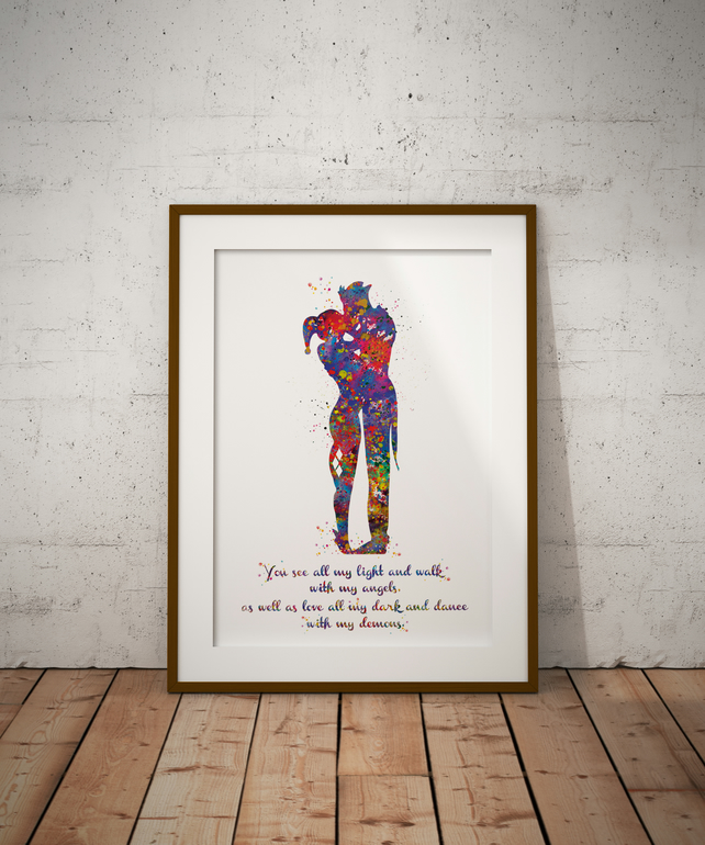 Joker And Harley Quinn Quote 2 Watercolour Print Wall Art