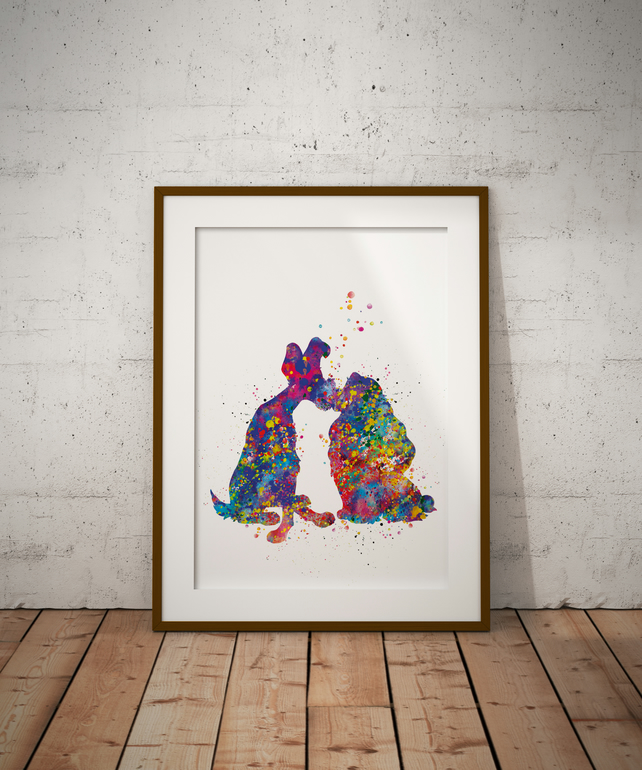 Lady And The Tramp Watercolour Print Wall Art