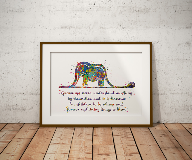 Le Petit Elephant Watercolour Print Wall Art