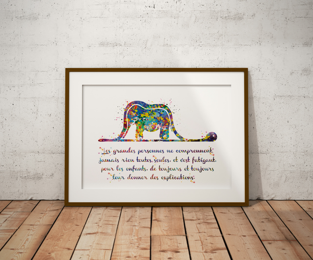 Le Petit Elephant French Watercolour Print Wall Art