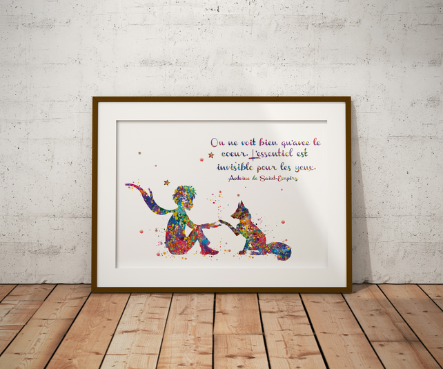 Le Petit Fox French Quote Watercolour Print Wall Art