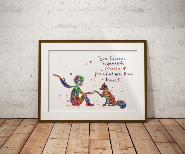 Le Petit Fox Quote Watercolour Print Wall Art