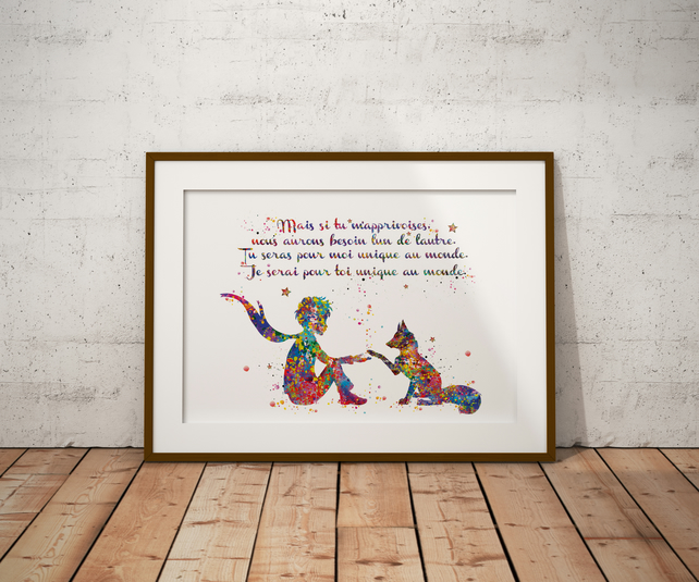 Le Petit Fox Quote French Watercolour Print Wall Art