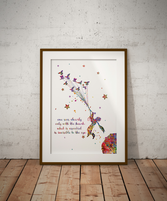 Le Petit Prince Birds Quote Watercolour Print Wall Art