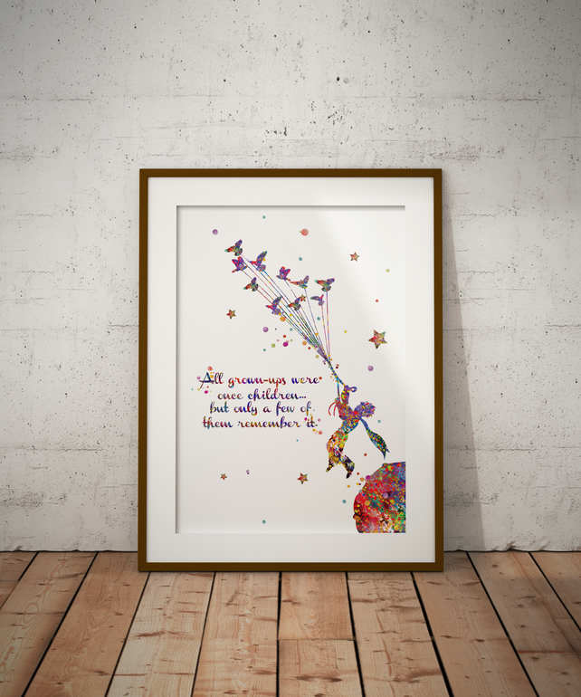 Le Petit Prince Quote Watercolour Print Wall Art