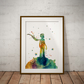 Le Petit Prince Yellow Watercolour Print Wall Art