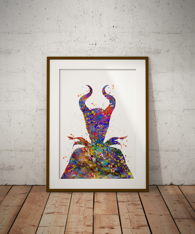 Maleficent Watercolour Print Wall Art