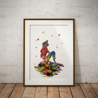 Mermaid Watercolour Print Wall Art