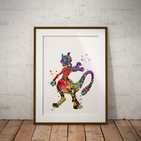 Mewtwo Watercolour Print Wall Art