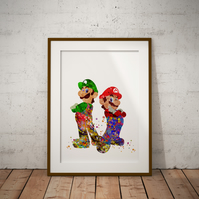 Mario Luigi Watercolour Print Wall Art