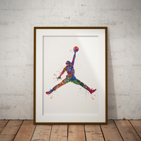 Michael Jordan Watercolour Print Wall Art