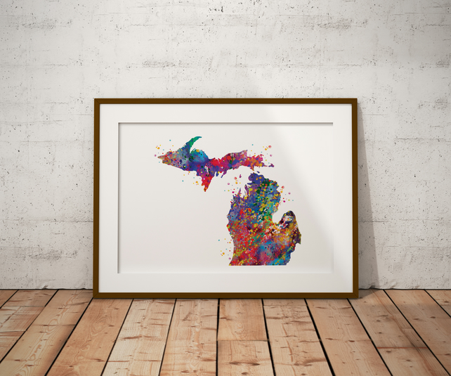 Michigan Watercolour Print Wall Art