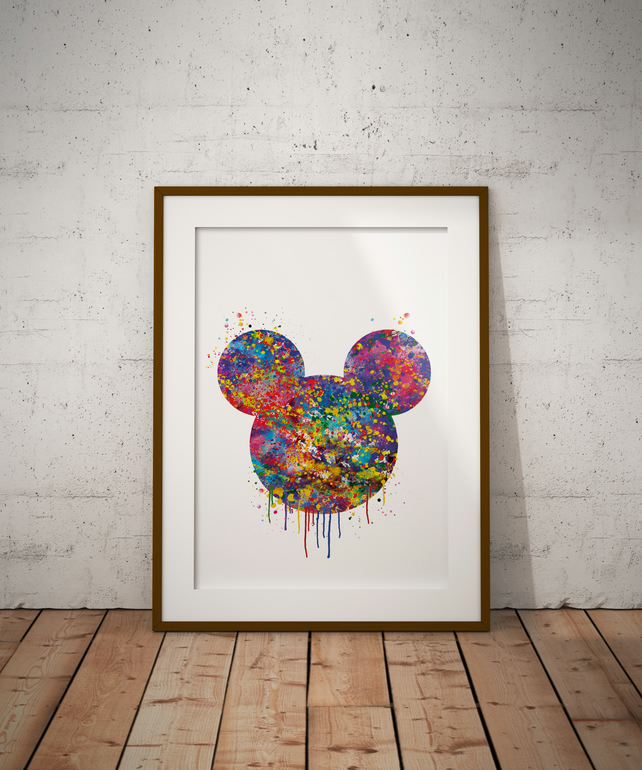 Mickey Drip Watercolour Print Wall Art