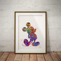 Mickey 3 Watercolour Print Wall Art