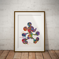 Mickey 2 Watercolour Print Wall Art