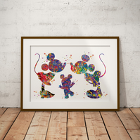 Mickey Minnie And Baby Watercolour Print Wall Art