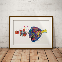 Marlin And Dory Watercolour Print Wall Art