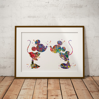Mickey And Minnie Watercolour Print Wall Art