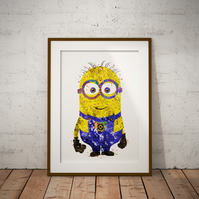 Minion Watercolour Print Wall Art