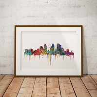 Minneapolis Watercolour Print Wall Art