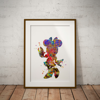 Minnie Mouse Watercolour Print Wall Art