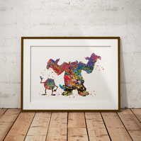 Monsters Inc Watercolour Print Wall Art