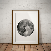 Moon Watercolour Print Wall Art