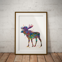 Moose Watercolour Print Wall Art