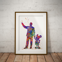 Mr Disney Watercolour Print Wall Art