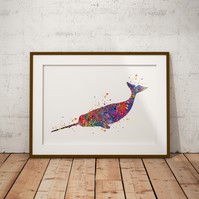 Narwhal Watercolour Print Wall Art