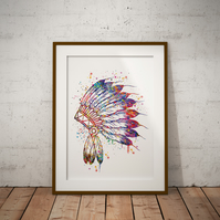 Native Watercolour Print Wall Art