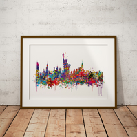 New York Watercolour Print Wall Art