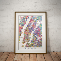 New York Map Watercolour Print Wall Art