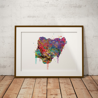 Nigeria Watercolour Print Wall Art
