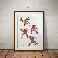 Ninja Turtles Watercolour Print Wall Art