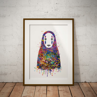 No Face Watercolour Print Wall Art