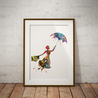 Mary Poppins Watercolour Print Wall Art