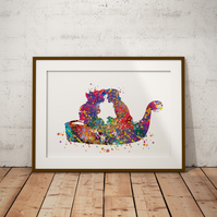 Mermaid Kiss Watercolour Print Wall Art