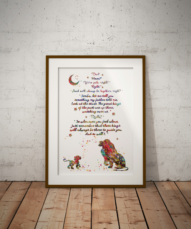 Lion King Quote 4 Watercolour Print Wall Art