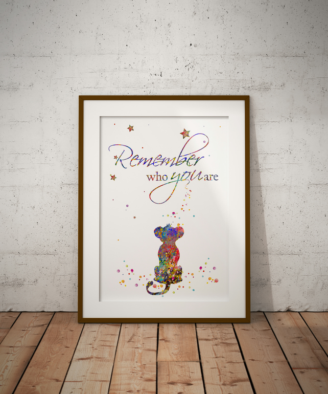 Lion King Remember 1 Watercolour Print Wall Art