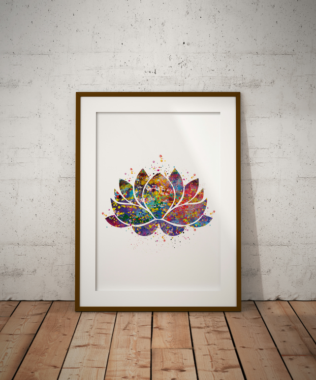 Lotus Watercolour Print Wall Art